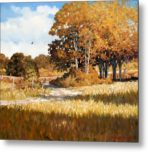 Landscape Metal Print featuring the painting Bend In The Road by Kevin Lawrence Leveque