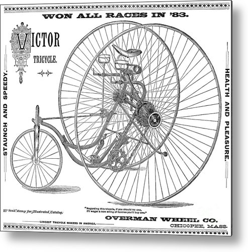 1884 Metal Print featuring the photograph Bicycle, 1884 by Granger