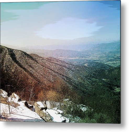Blue Ridge Mountains Shenandoah Valley Virginia Usa Landscape Panorama Trees Rocks Snow Winter Sky. Metal Print featuring the photograph Blue Ridge by Susan Epps Oliver