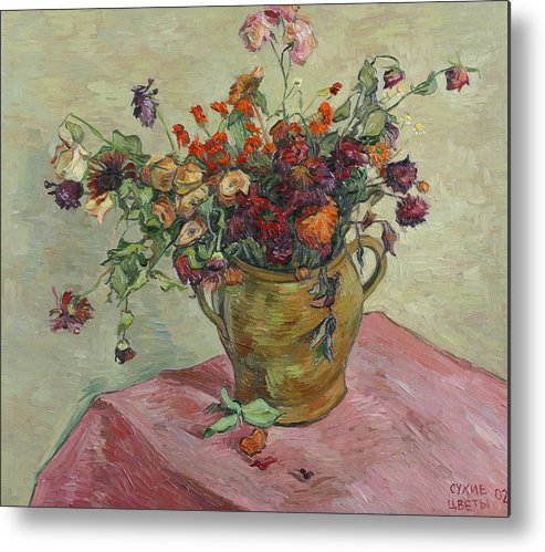 Still Life Metal Print featuring the painting Bunch Of Roses by Vitali Komarov