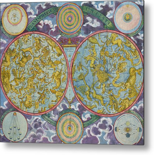 Metal Print featuring the drawing Celestial Map Of The Planets by Georg Christoph Eimmart
