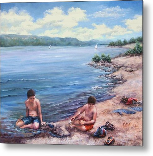 Beach Metal Print featuring the painting Childhood Toys And Sandy Boys by Virginia Potter