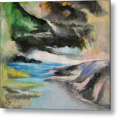 Abstract Metal Print featuring the painting Chinese Landscape 1 by Lian Zhen
