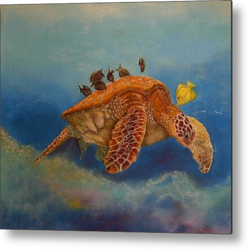 Turtle Metal Print featuring the painting Cleaning Station by Ceci Watson