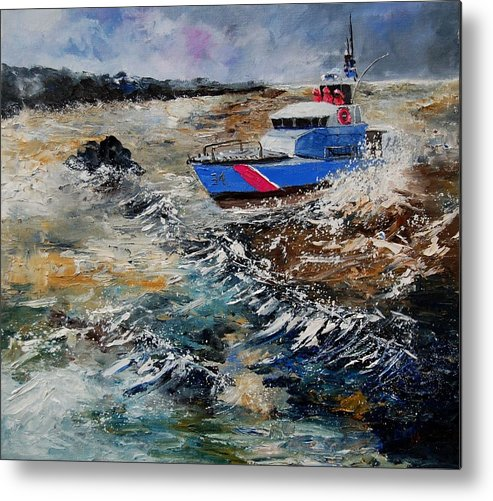 Sea Metal Print featuring the painting Coastguards by Pol Ledent