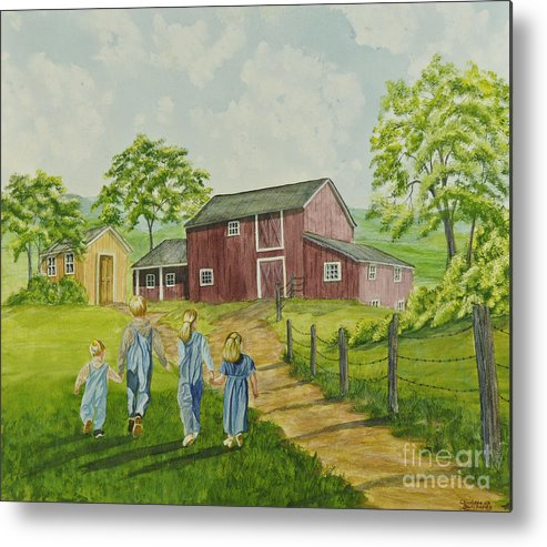 Country Kids Art Metal Print featuring the painting Country Kids by Charlotte Blanchard