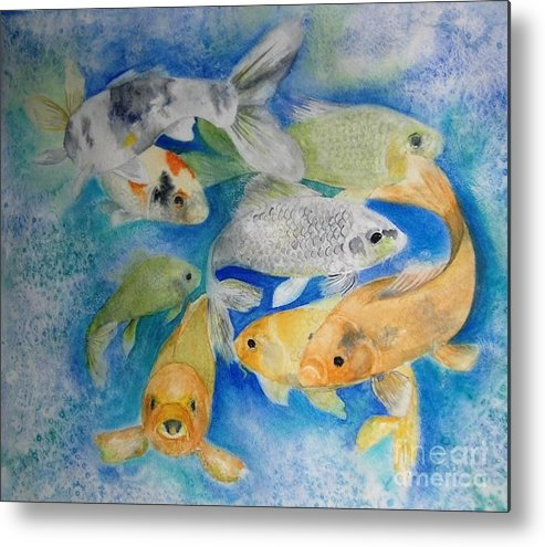 Water Metal Print featuring the painting Coy Koi by Vivian Mosley
