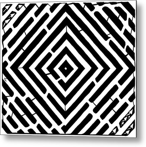 Optical Illusion Metal Print featuring the drawing Diamond Shaped Optical Illusion Maze by Yonatan Frimer Maze Artist