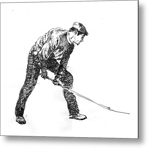 Figurative Metal Print featuring the drawing Digging. by Jose Carvalhosa