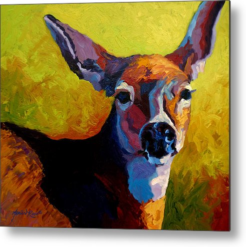 Western Metal Print featuring the painting Doe Portrait V by Marion Rose