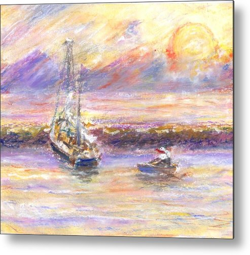 Sunset Metal Print featuring the painting Evening Tide by Ana Bikic