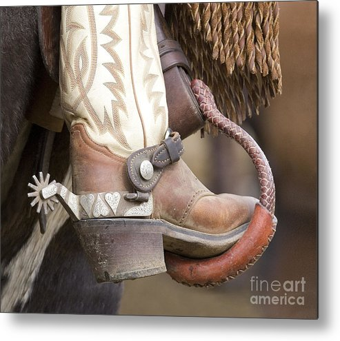 Cowboy Metal Print featuring the photograph Fancy Foot by Carol Walker
