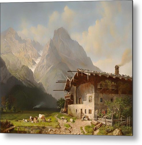 Painting Metal Print featuring the painting Farm Before Garmisch by Mountain Dreams