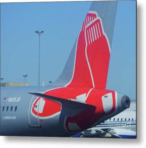 Airplane Art Red Sox Logo Jet Blue Logan Airport Aviation Whimsical Baseball Fun Outdoors Travel Boston New England Collectible Poster Print Wood Print Canvas Print Metal Frame Available On Greeting Cards Tote Bags T Shirts Mugs Shower Curtains Pouches Spiral Notebooks And Phone Cases Metal Print featuring the photograph For Red Soxs Fans by Marcus Dagan