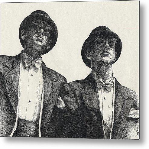 Male Metal Print featuring the drawing Gents by Amy S Turner