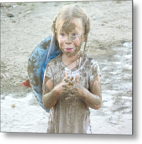 Girl Metal Print featuring the photograph Girl After The Pig Wrestling by Irina ArchAngelSkaya
