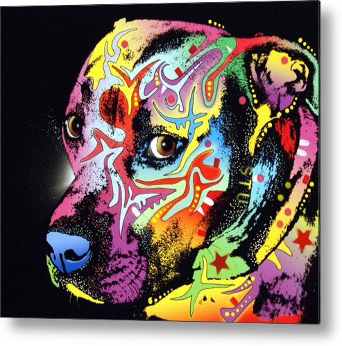 Dog Metal Print featuring the painting Gratitude Pit Bull Warrior by Dean Russo