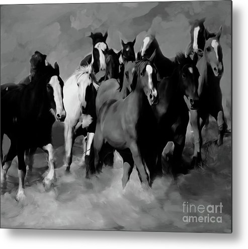 Wild Horse Metal Print featuring the painting Horses Stampede 01 by Gull G
