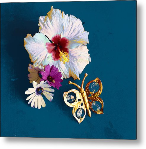 Photography Metal Print featuring the photograph Hybiscus And Butterfly by Mallorca Colors