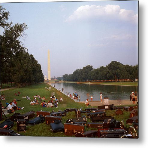 Water washington Monument Lawn Grass Music People Metal Print featuring the photograph July In Dc by Lawrence Costales