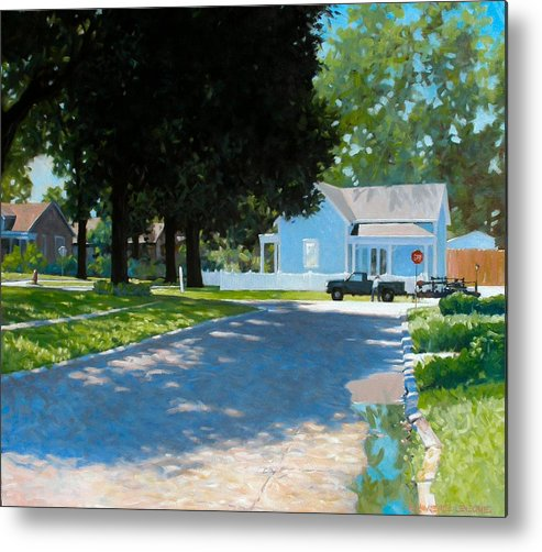 Street Scene Metal Print featuring the painting Lawn Man by Kevin Lawrence Leveque