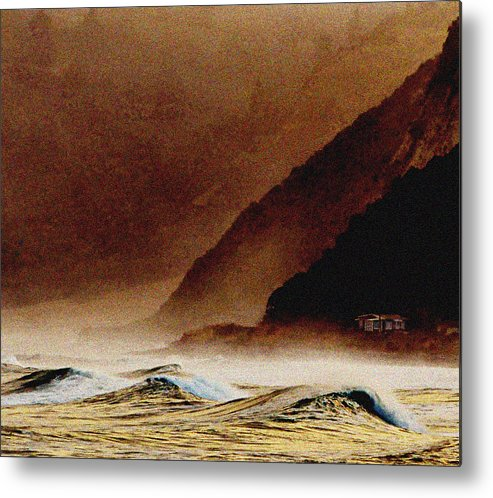 Brown Metal Print featuring the photograph Lone House Kaikoura by Peter Millar