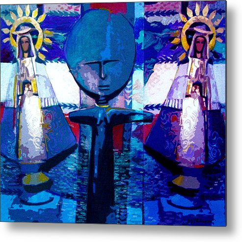 Figures Metal Print featuring the digital art Madonna Trio by Dale Witherow