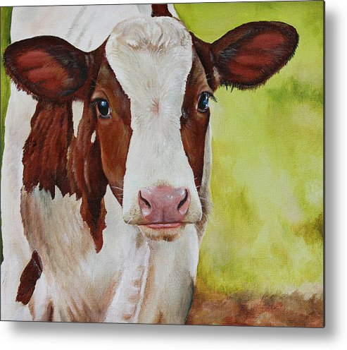 Cow Metal Print featuring the painting Marigold by Laura Carey