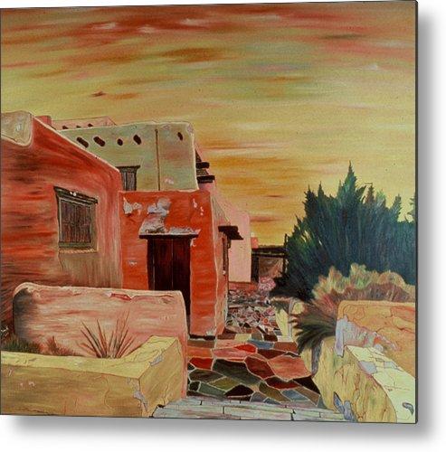 Landscape Metal Print featuring the painting Mi Casa by Oudi Arroni