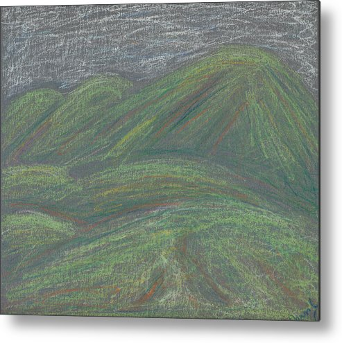 Mountain Metal Print featuring the pastel Ochre Mountains by Dawn Marie Black