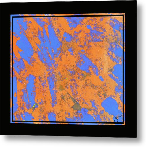 Dry Brush Abstract On Paper Metal Print featuring the painting Orange On Blue by JOnezi