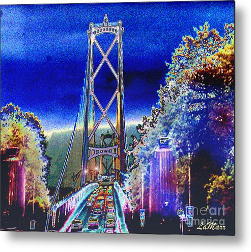 Landscape Metal Print featuring the mixed media Portland Bridge by LaMarr Kramer