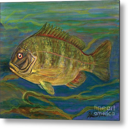 Folkartanna Metal Print featuring the painting Predatory Fish by Anna Folkartanna Maciejewska-Dyba