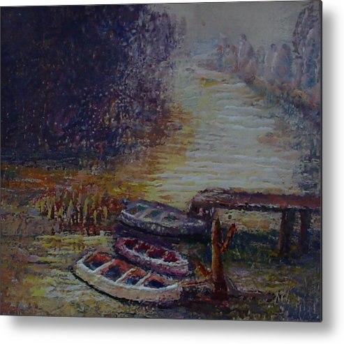 Boats Metal Print featuring the painting Quiet Places by Helen Musser