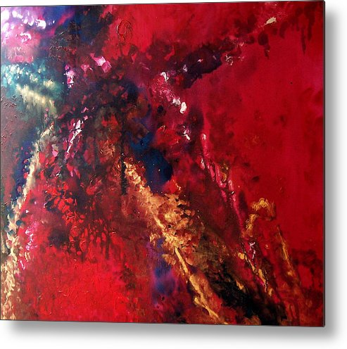 Red Metal Print featuring the painting Racquel by Jess Thorsen