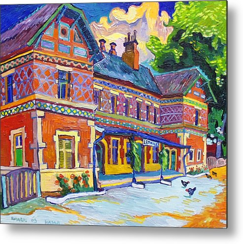 Lednice Metal Print featuring the painting Railway Station In Lednice by Vitali Komarov