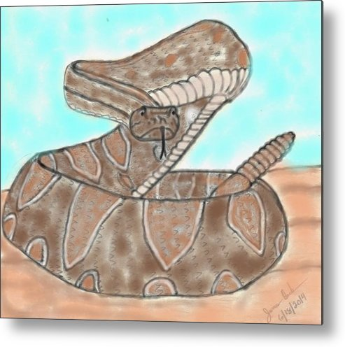 Snake Metal Print featuring the mixed media Rattler by James Back