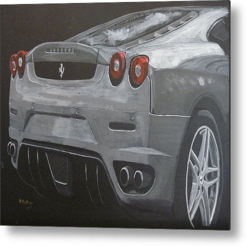 Ferrari Metal Print featuring the painting Rear Ferrari F430 by Richard Le Page