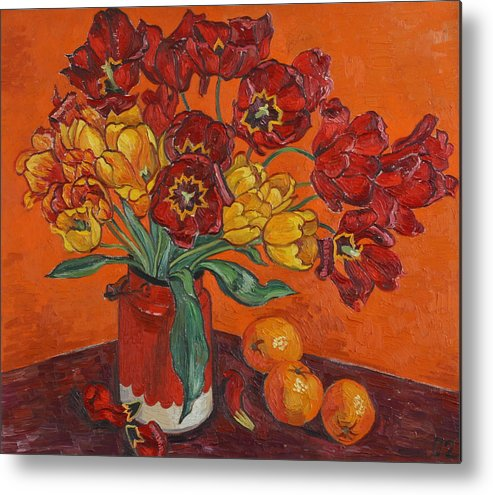 Tulips Metal Print featuring the painting Red And Yellow Tulips And Oranges by Vitali Komarov
