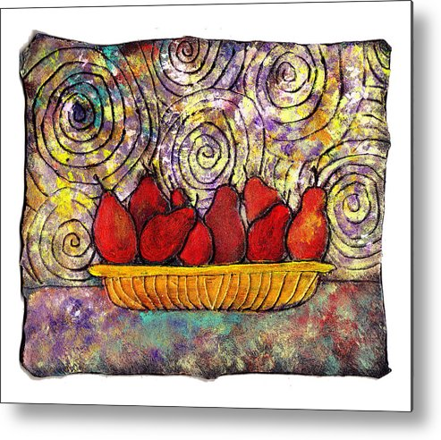 Spirals Metal Print featuring the painting Red Pears In A Bowl by Wayne Potrafka