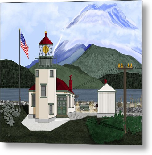 Point Robinson Lighthouse Metal Print featuring the painting Robinson Point With Mount Rainier by Anne Norskog