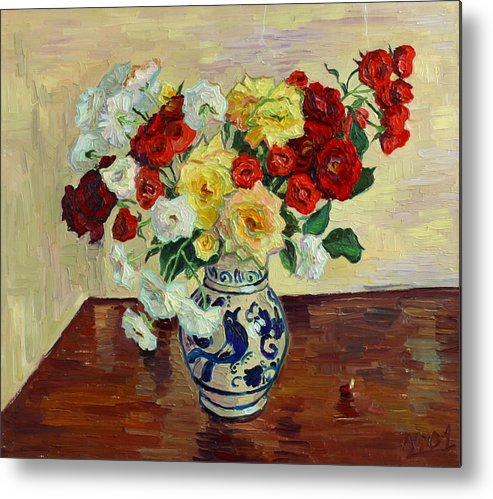 Rose Metal Print featuring the painting Roses In Chinese Vase by Vitali Komarov