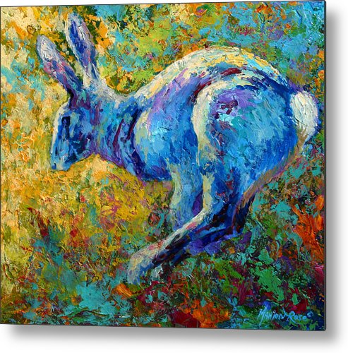 Rabbit Metal Print featuring the painting Running Hare by Marion Rose