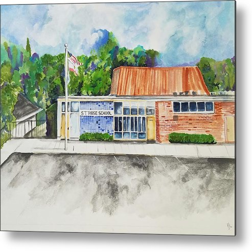 Saint Rose Metal Print featuring the painting Saint Rose Catholic School by Kathy Laughlin