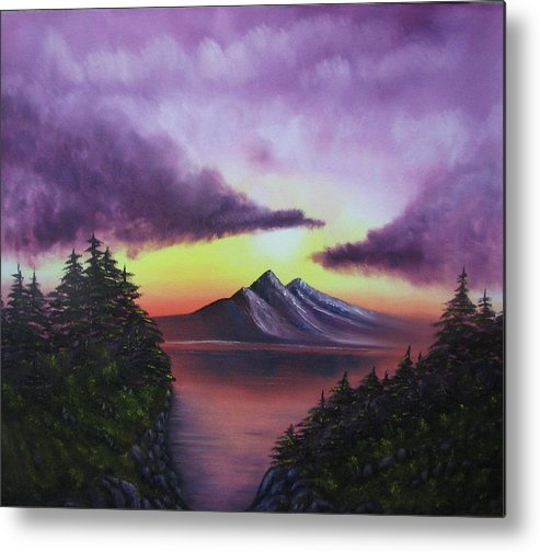 Sunset Metal Print featuring the painting Sunset In Mountains Original Oil Painting by Natalja Picugina