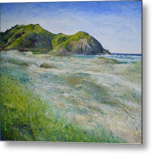 Byron Bay Metal Print featuring the painting Tallows Beach Byron Bay Northern Nsw Australia 2002 by Enver Larney