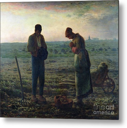 The Metal Print featuring the painting The Angelus by Jean-Francois Millet