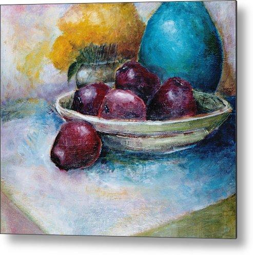 Jar Metal Print featuring the painting The Blue Vase Iv by Jun Jamosmos