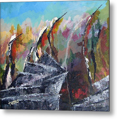 Original Metal Print featuring the painting The First by Laura Tveras