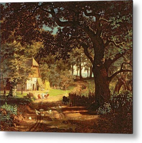 Albert Bierstadt Metal Print featuring the painting The House In The Woods by Albert Bierstadt